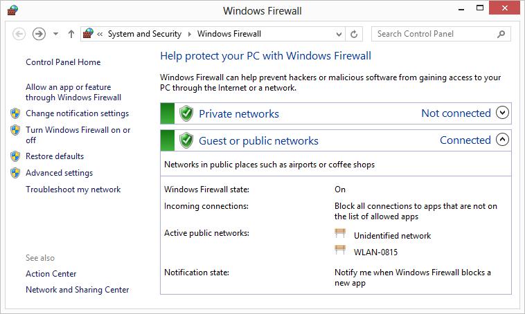 einstellung firewall windows 10